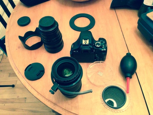Lens prep before the first day of shooting. The Sigma 18-35mm 1.8 was used as the primary lens for its versatility and large aperture.