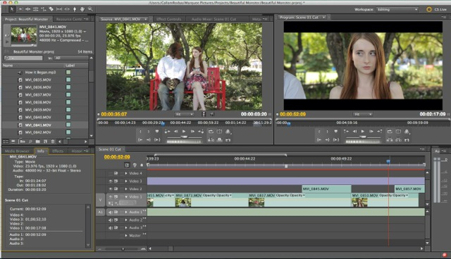 Adobe Premiere Pro was used for post-production editing and colour grading, while Adobe After Effects was used for visual effects and stabilization.